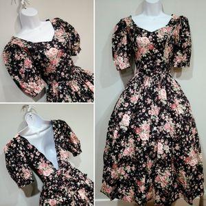Vtg Laura Ashley floral dress size 4 50s style